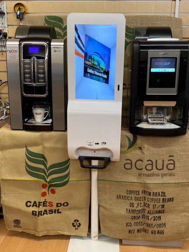 Self-service coffee machines with no-touch hand sanitising station